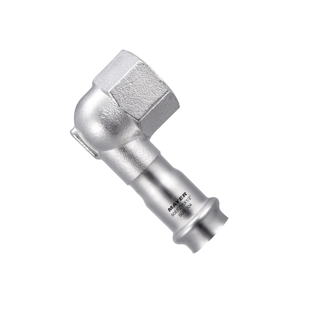 stainless steel short elbow 90 degree thread pipe fitting application on construction or potable water V profile