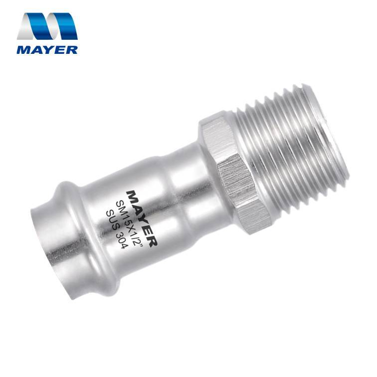 Stainless Steel Press Fitting Male Coupling V Profile