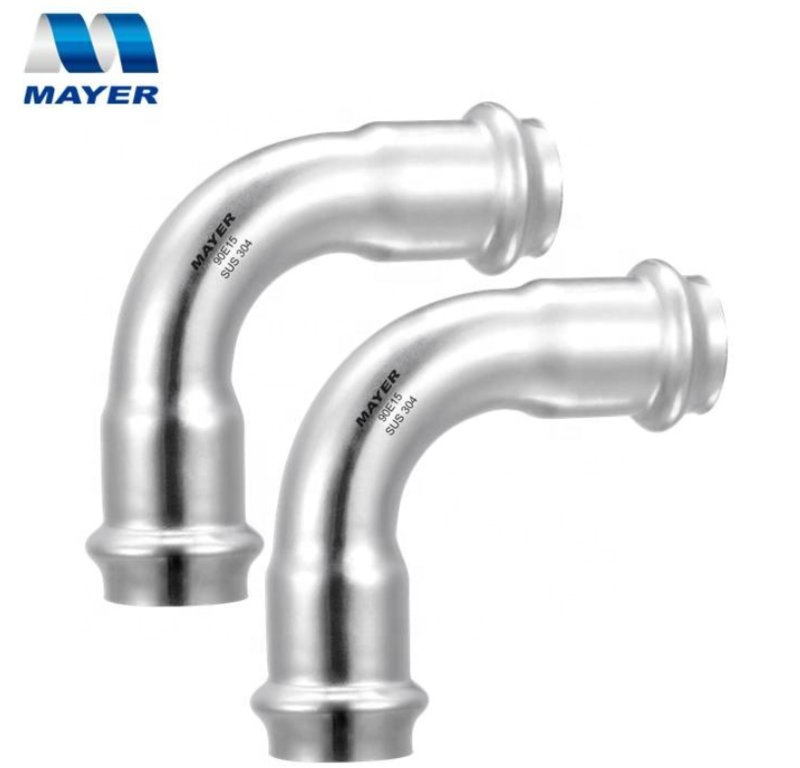 High Quality inox grooved stainless pipe press fittings professional stainless steel sanitary 90 degree elbow