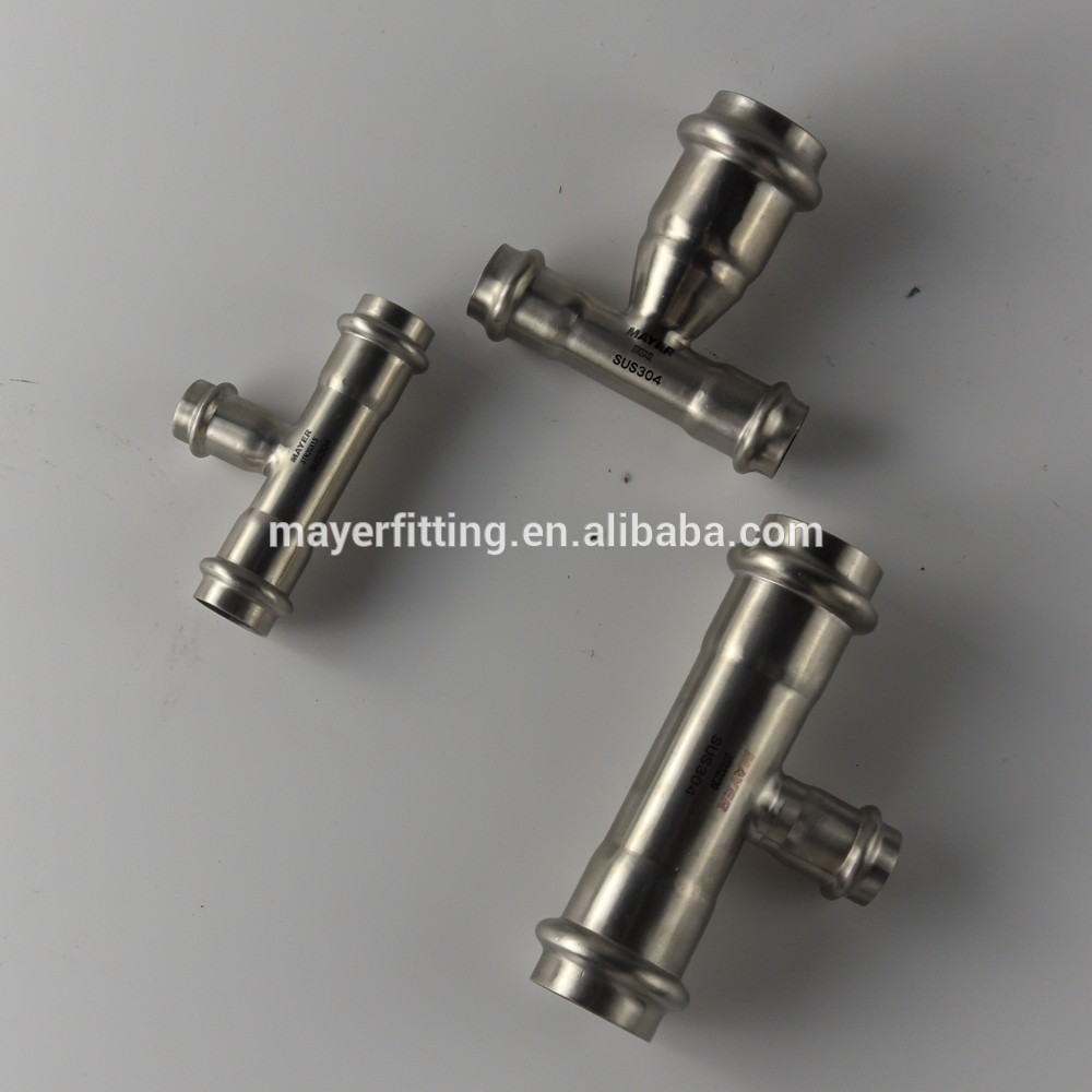 AISI304/316L Sanitary Clamped Reducing Tee Pipe Fitting Long Radius