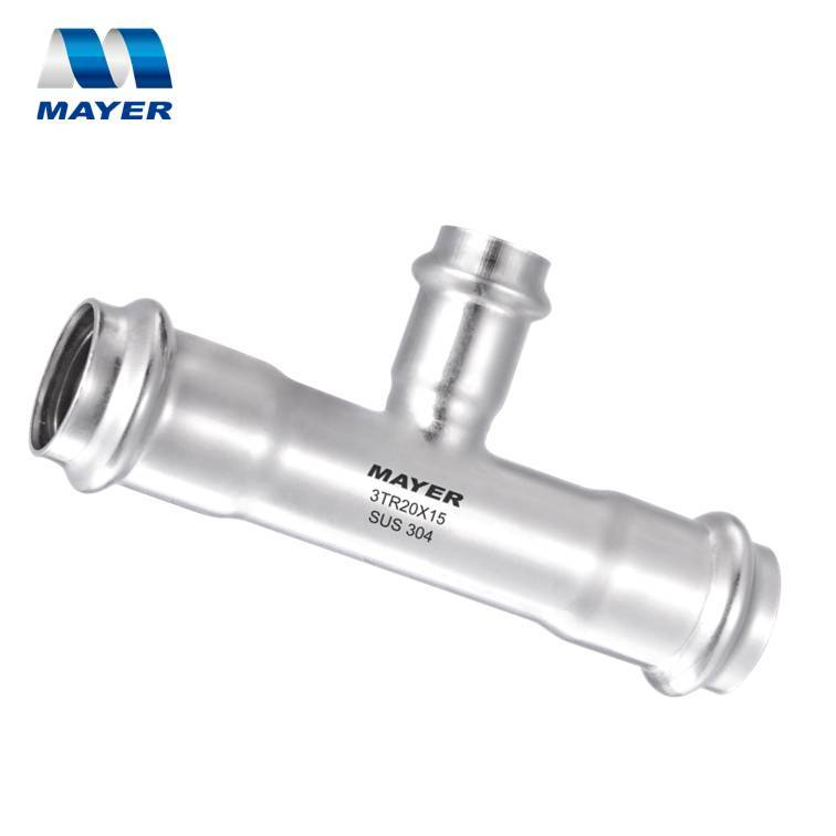 Stainless Double Press Fitting Reducing Tee 304 or 316L