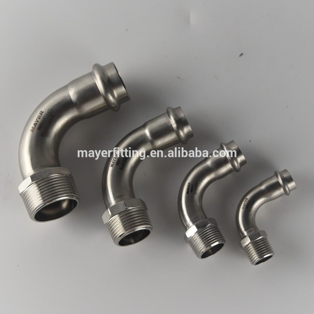 Propress fitting stainless steel 90 elbow with male threaded 316L for plumbing