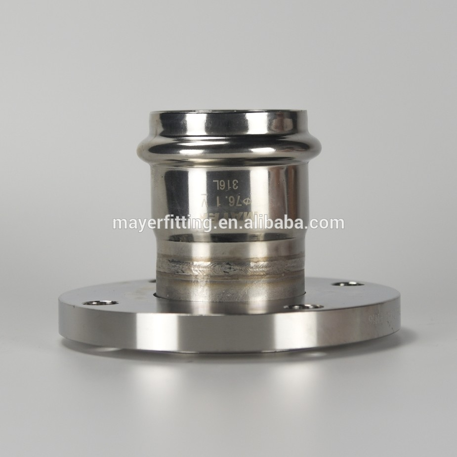 Stainless steel Flange Connector 304/316L with Press End PN16