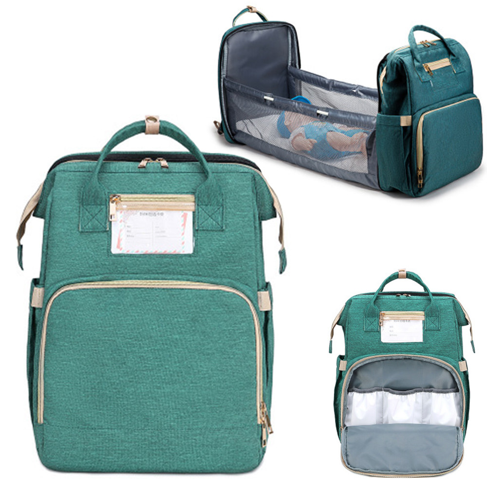 Custom Multifunctional Waterproof Travel Mom Diaper Baby Bag With Bed, Fashion Mummy Diaper Backpack Luxury Land Diaper Bag