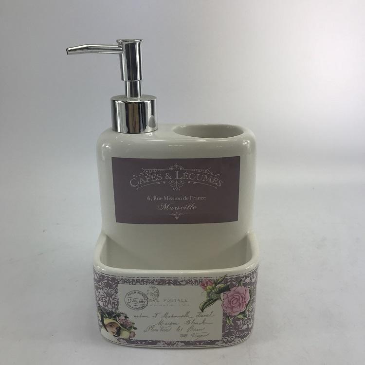 Royal Europe White Ceramic Kitchen Canister Soap Dispenser Set