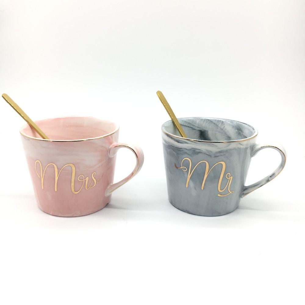 European Home Gift Decor Marble Ceramic Coffee Mug