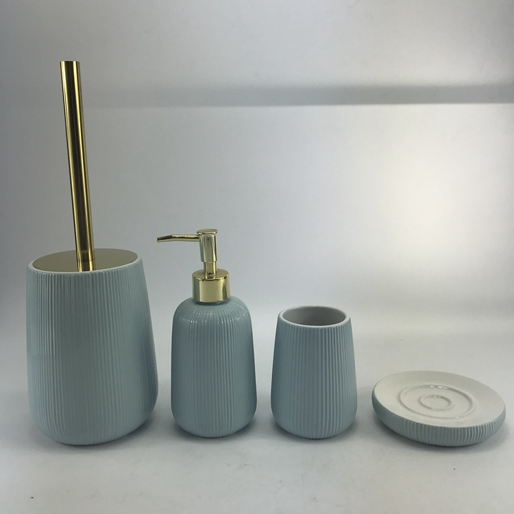 Creative Blue Ceramic Bathroom Accessories Set