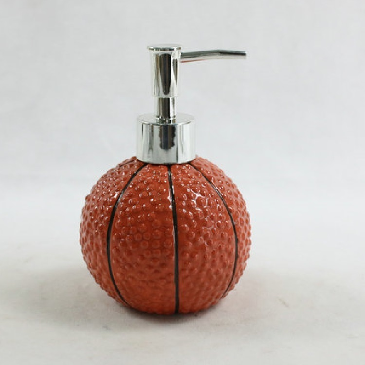 Ceramic Basketball Bathroom Liquid Soap Foam Pump Bottle Holder with Pump