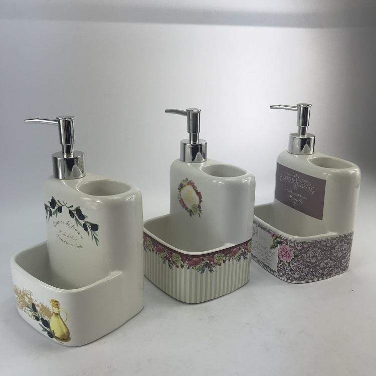 Multifunction Royal European White Ceramic Kitchen Lotion Dispenser Set