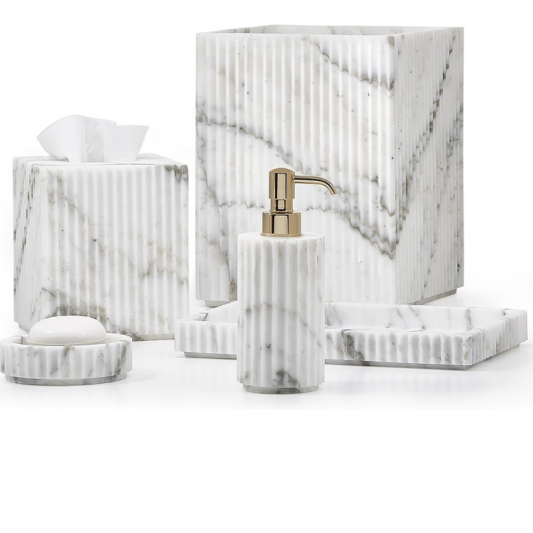 Ceramic Marble Hotel Bathroom Accessories Set With soap Dispenser