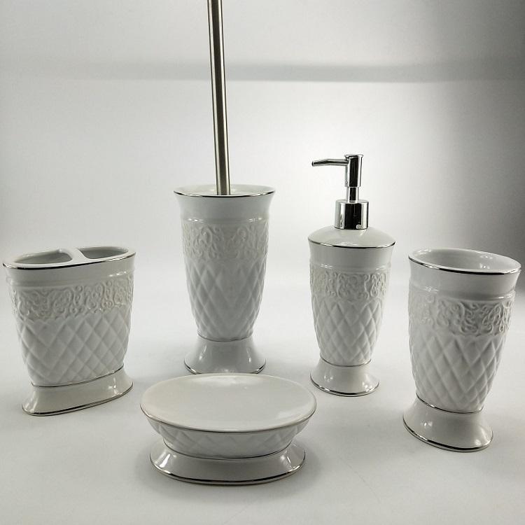 Western White Dolomite Ceramic Hotel Bathroom Accessories Set