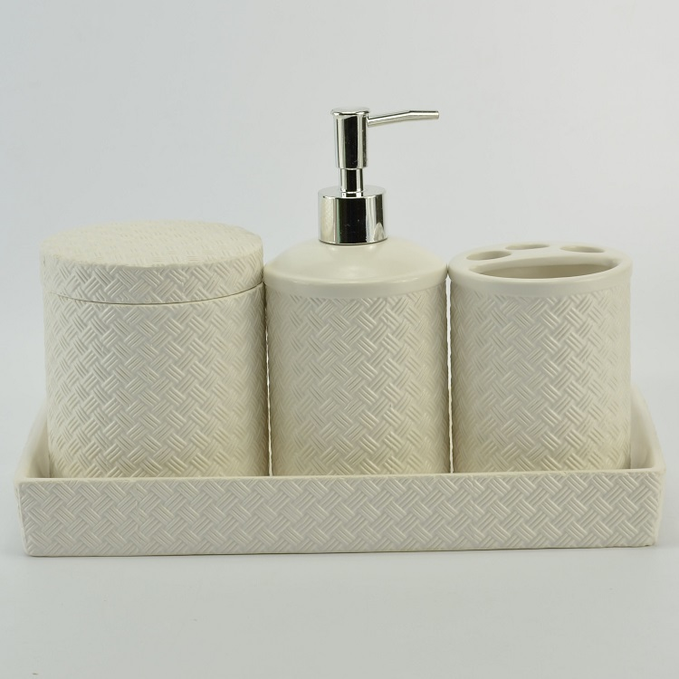 White Small Square Ceramic Bathroom Accessories Set For Hotel