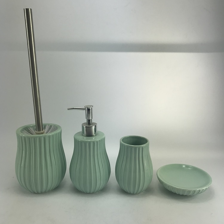 Elegant Blue Ceramic Hotel Bathroom Accessories Set