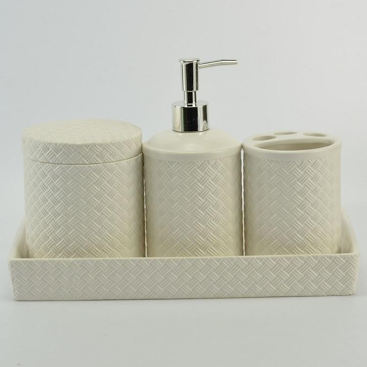 China OEM Produce Hotel Bathroom Accessory 4 Piece White Graticule Ceramic Set