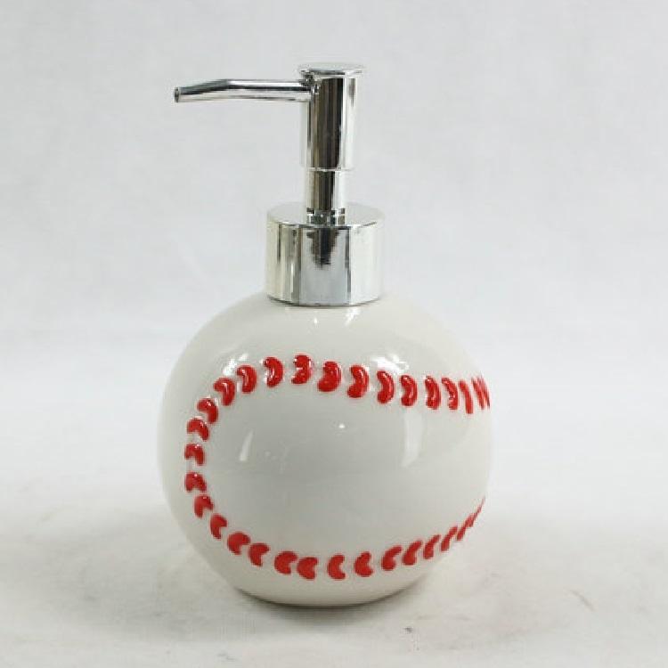 Ceramic Baseball Bathroom Liquid Hand Soap Foam Dispenser Plastic Bottle