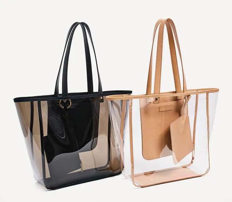 Fashion Handbag Clear Transparent Women Shopping Bags Summer LargeShoulder Bag Travel Crystal Beach Bag