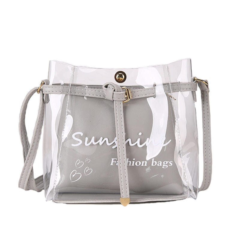 Handbags Fashion Bags For Women 2019 Summer Small Bag Transparent Jelly Handbags Wild Simple Shoulder Package Set 2 pieces