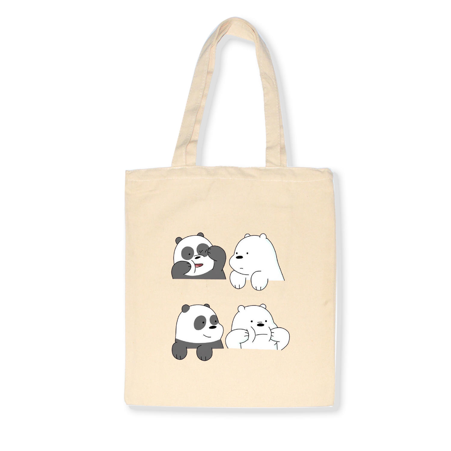 Cute Tote Bag Animals Three Bears Print Canvas Bag Eco Shopping Bag Daily Use Foldable Handbag Large Capacity Canvas Tote Women