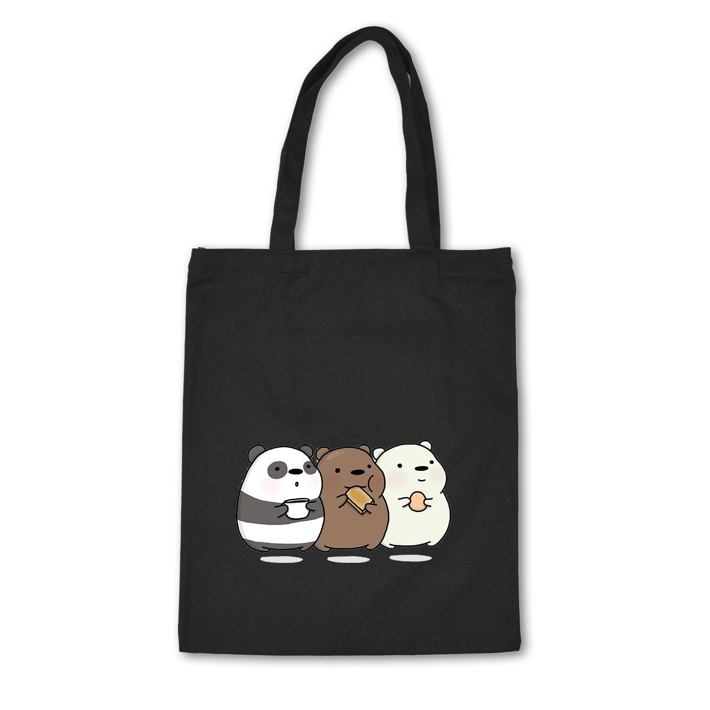 Cute Tote Bag Animals Three Bears Print Canvas Bag Eco Shopping Bag Daily Use Foldable Handbag Large Capacity Canvas Tote Women