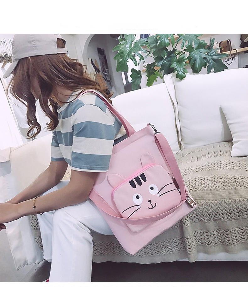 Cat Cute Canvas Shoulder Bag Ladies Large Capacity Handbags For Women 2020 Casual Solid Color Zipper Student Shopping Bag Tote