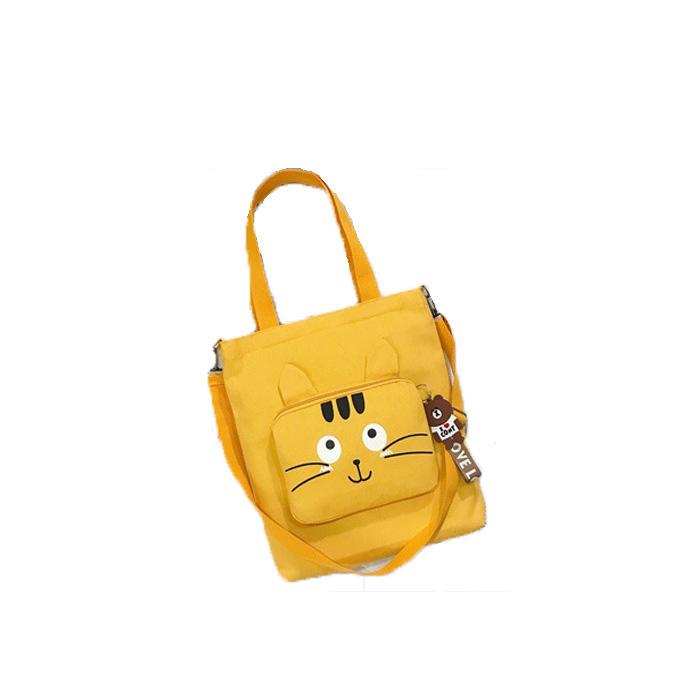Cat Cute Canvas Shoulder Bag Ladies Large Capacity Handbags For Women 2020 Casual Solid Color Zipper Student Shopping Bag Tote