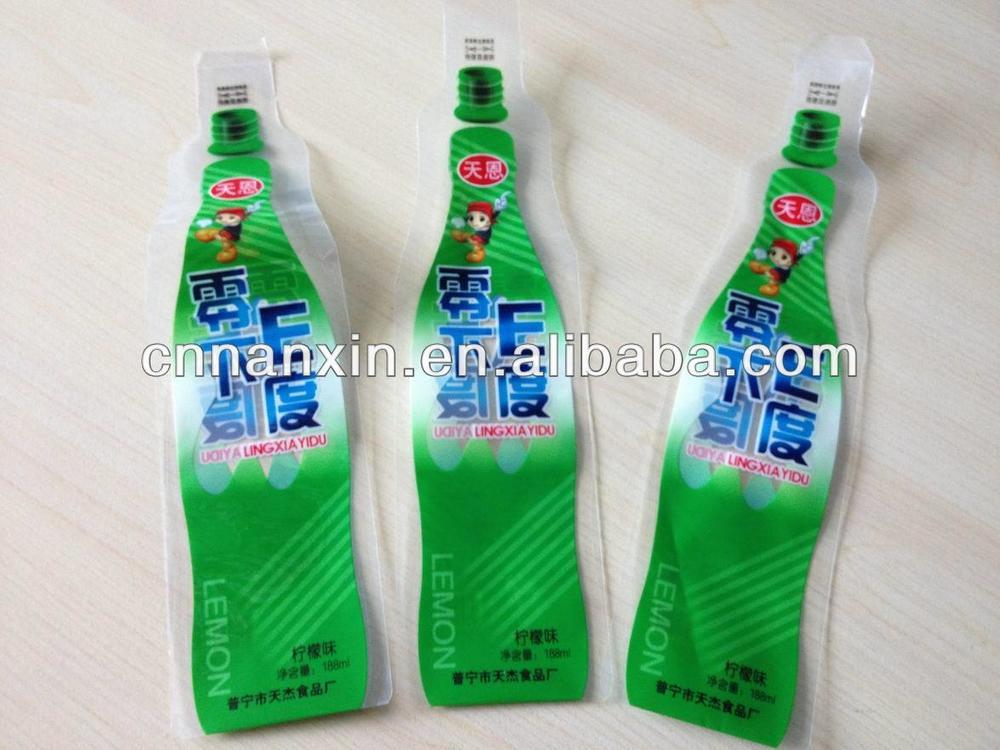 bottle shape disposable PET PE water pouch