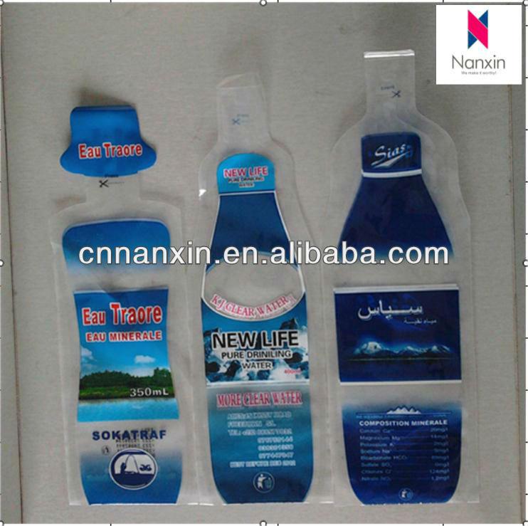 disposable plastic water pouch bottle shape