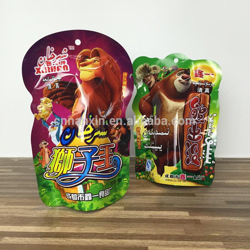 Kids snacks food packaging plastic cartoon design