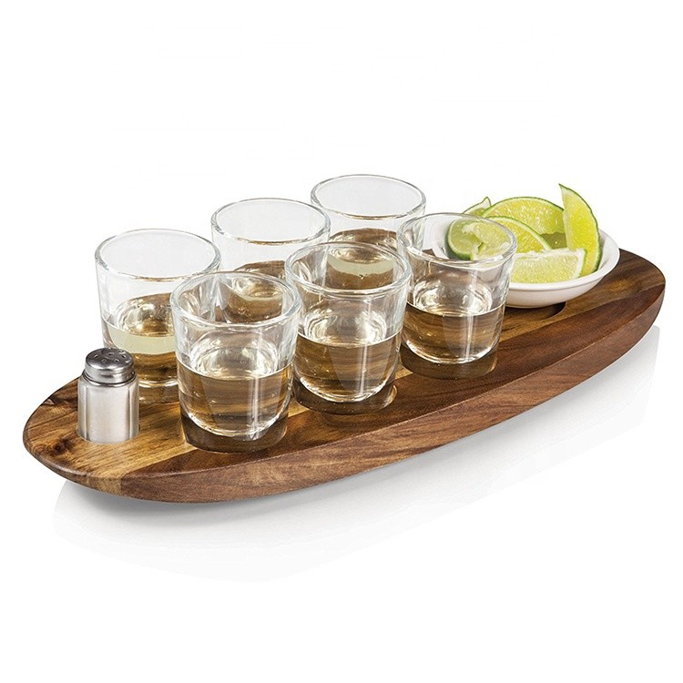 Perfect and good quality shot glass wooden tea serving holder tray
