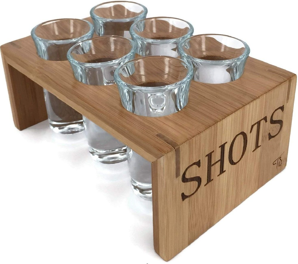 China top selling classical wooden shot glass tray with high quality