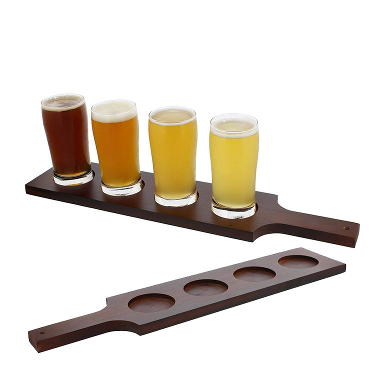 Hot sale non-slip unfinished shot glass natural wood tray