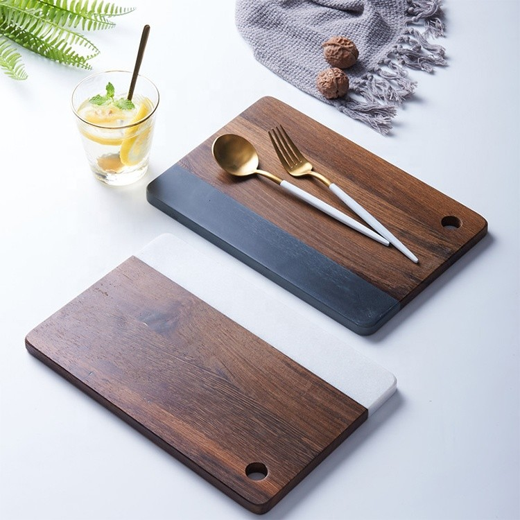 custom nordic style Luxury wooden serving tray with marble delicate bread board