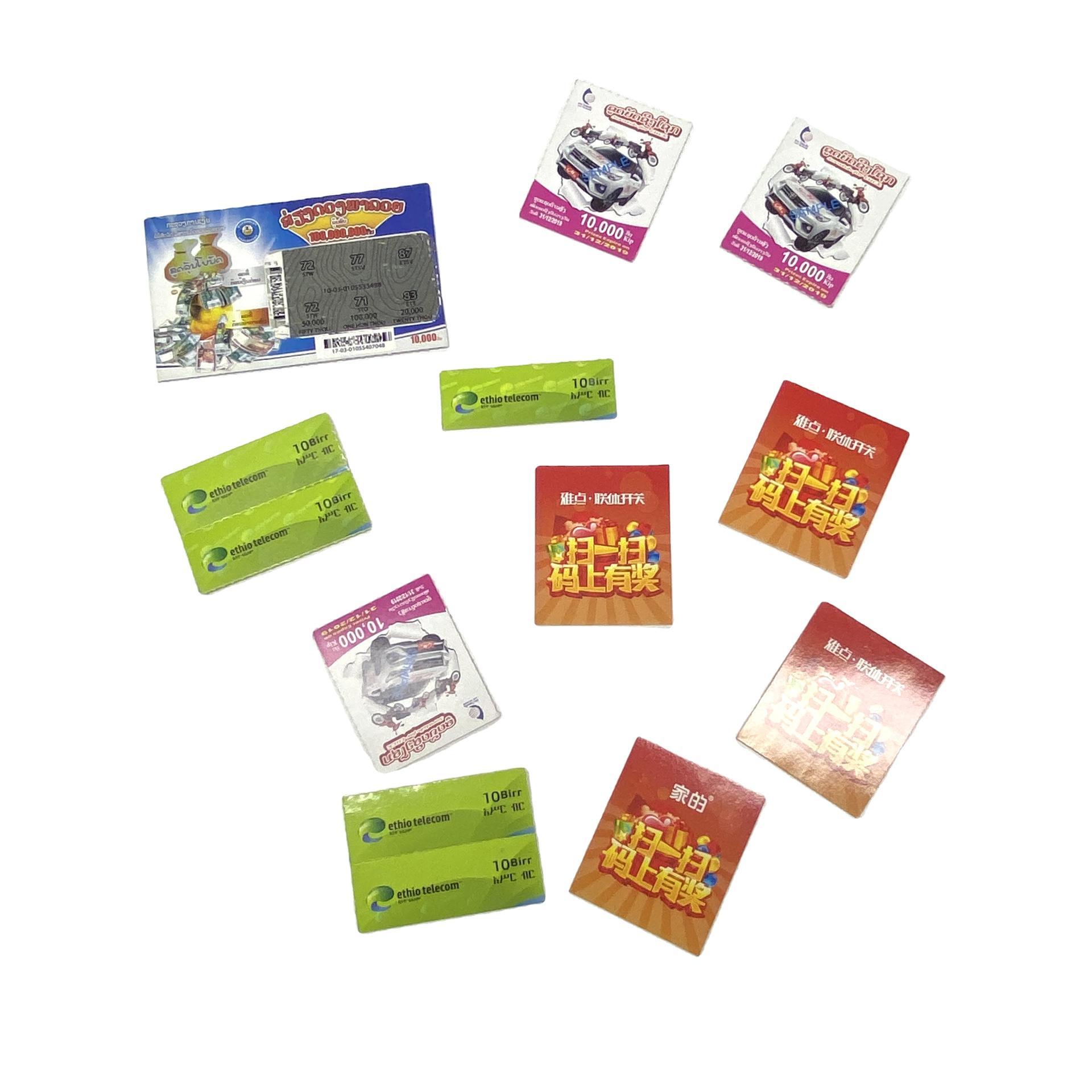 Original Card Sticker Game Machine Ticket Online Scratch Off Lottery Tickets
