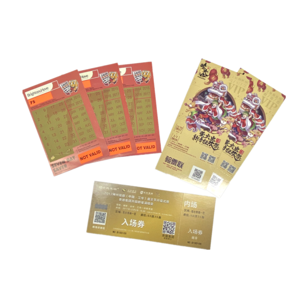 High Quality Custom Business Card Air Ticket Travel Scratch Off Lottery Tickets Online