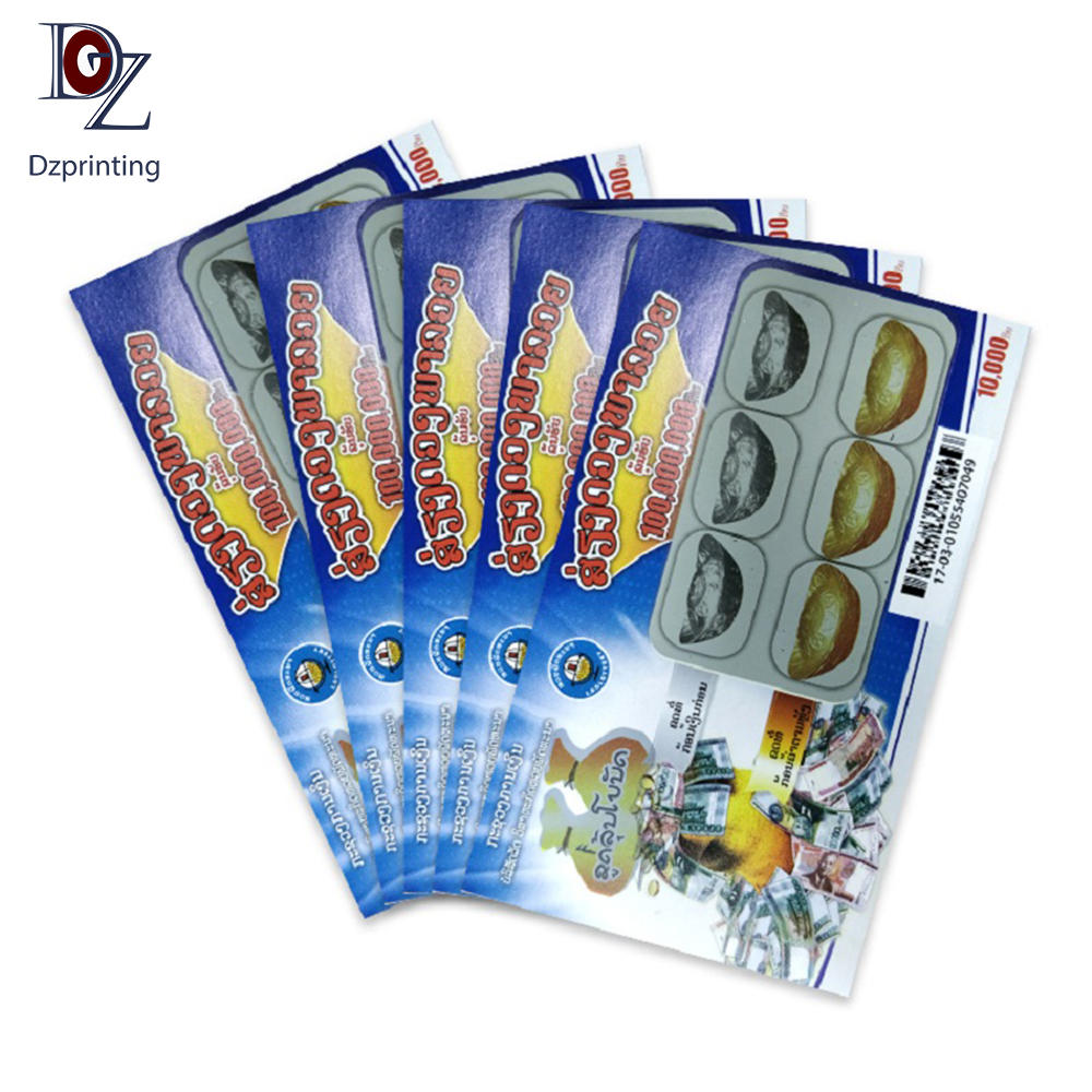 High Quality Lottery Scratch Tickets Lottery Game Card Roll Packing Scratch Cards