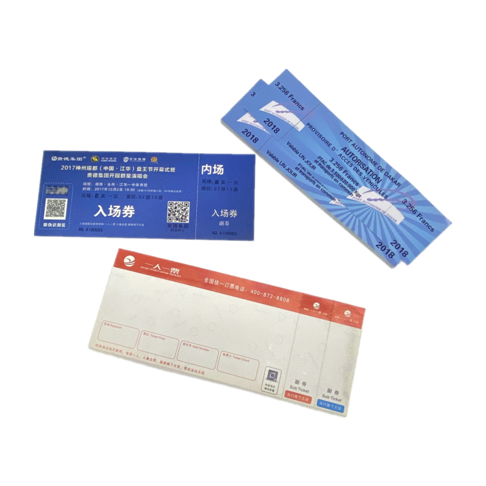 Colorful Customized Flight Ticket Cards Scratch Off Lottery Tickets