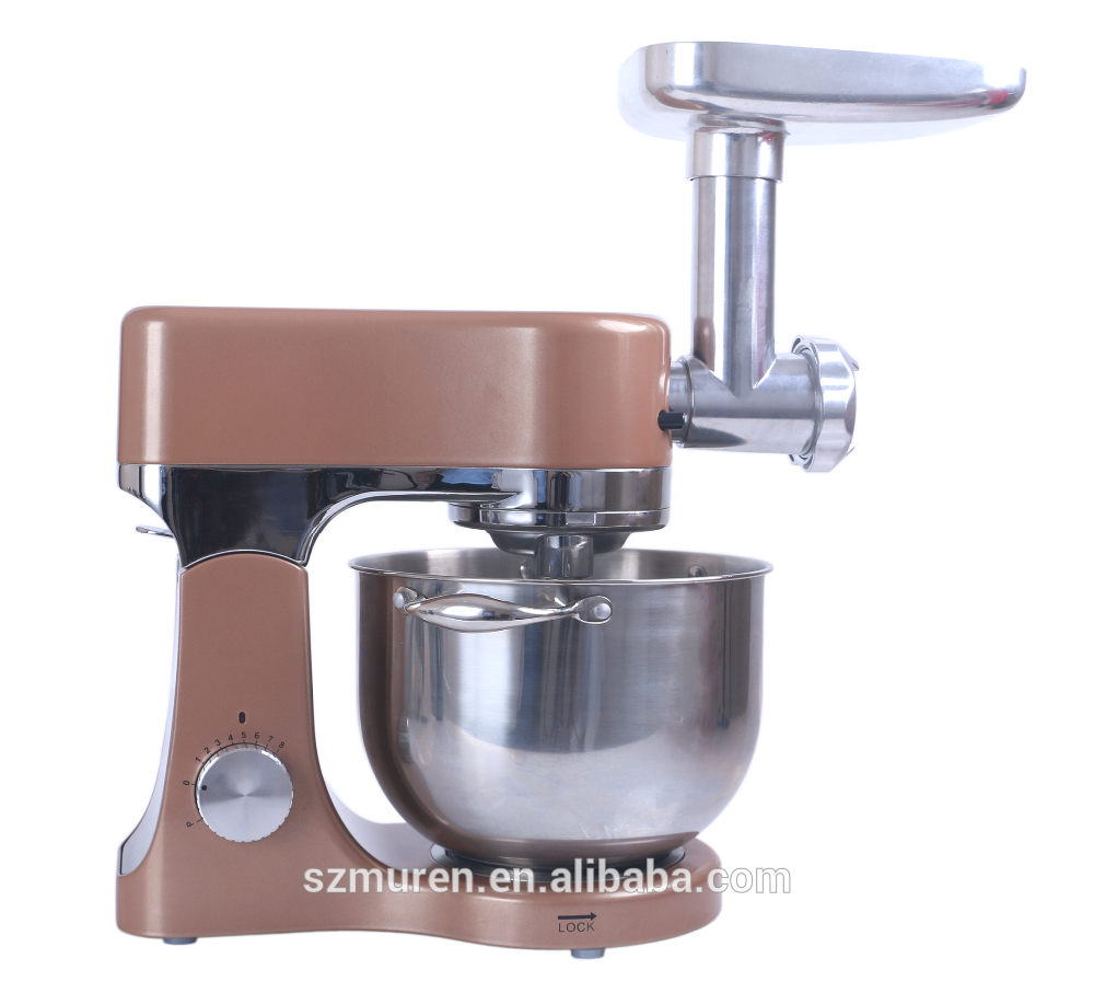 1200W dough kneading and meat grinding stand mixer with double dough hooks technology
