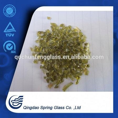 Crushed Amber Clear Glass Chips for Wholesale