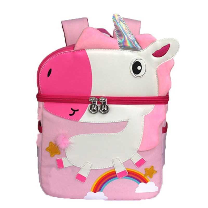mochilas 3D Cartoon Animal Kids Dinosaur Giraffe Unicorn Whale Elephant Flamingo Solid Color Backpack Children Pack for boys and girls