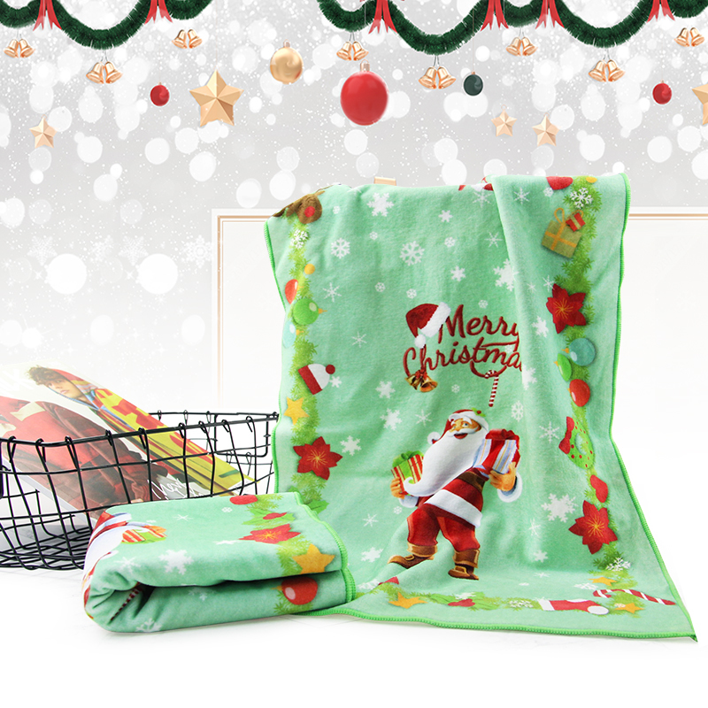 Factory Price 100% Cotton digital Printed Christmas Face Towel Set for Kids Gift with Design