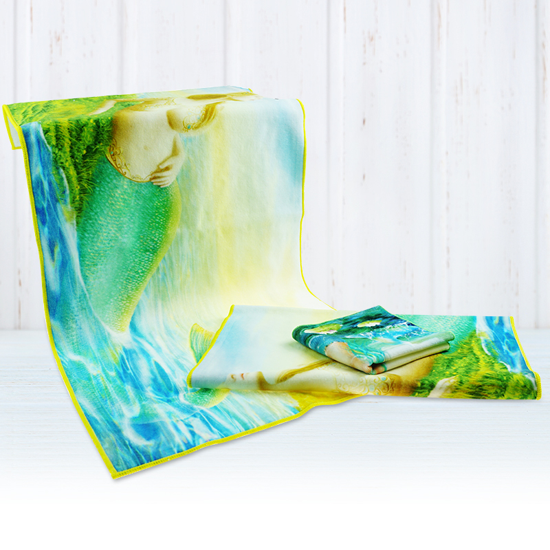 Free Sample Wholesale 100% Cotton Cartoon Mermaid face Towel Heat Transfer Printing Luxury face Towels