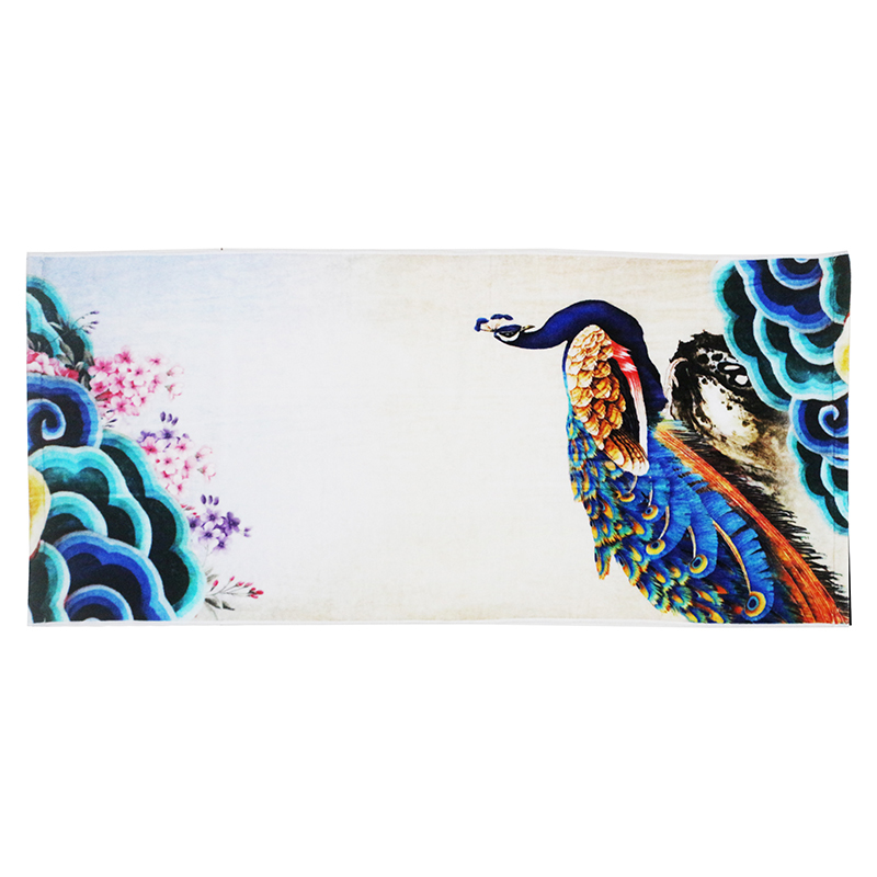 100% cotton beautiful noble peacock digital print face towel