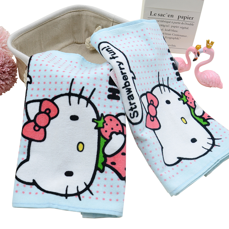 China Factory 100% Cotton Photo Digital Printed Face Towel With Customized Logo Hello Kitty