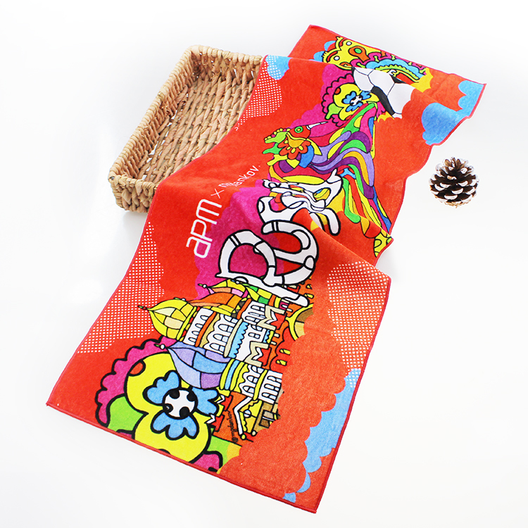 OEM Printed Cotton face Towels with Picture for TravelSwimming