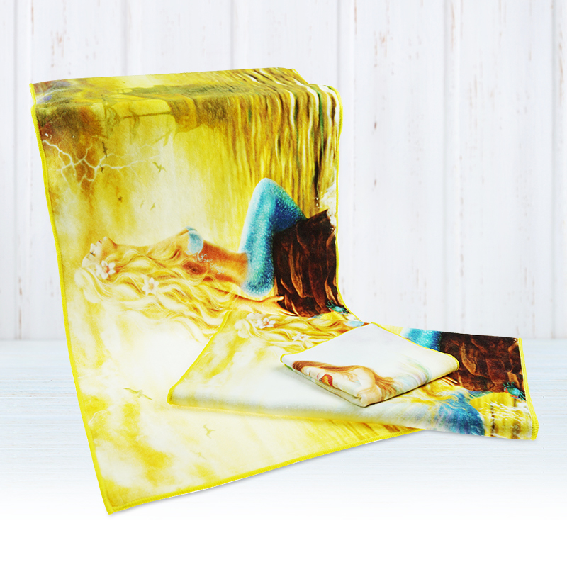 Wholesale 100% Cotton Cartoon Mermaid face Towel Heat Luxury face Towels