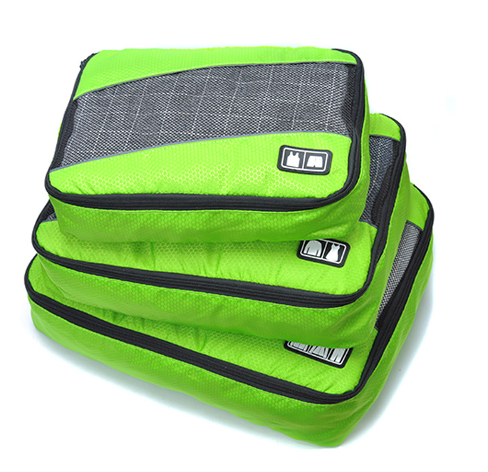 3 Pcs Grid Clothing Collection Bag Travel Bag, Customized Packing Cubes