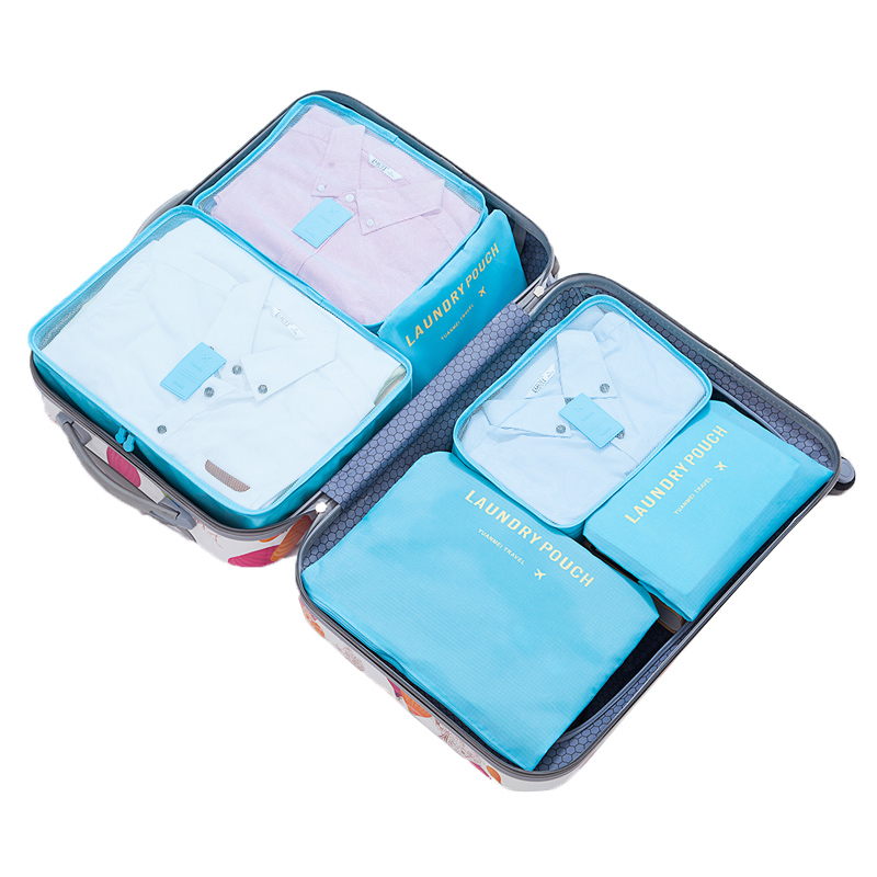 Plain And Flora Colors Polyester Material Clothes Storage Travel Luggage Organizer Packing Cubes 6pcs Travel bag