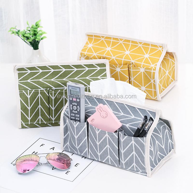 Waterproof Cotton Linen Tissue Holder Desk Organizer Cosmetic Organizer Storage Box