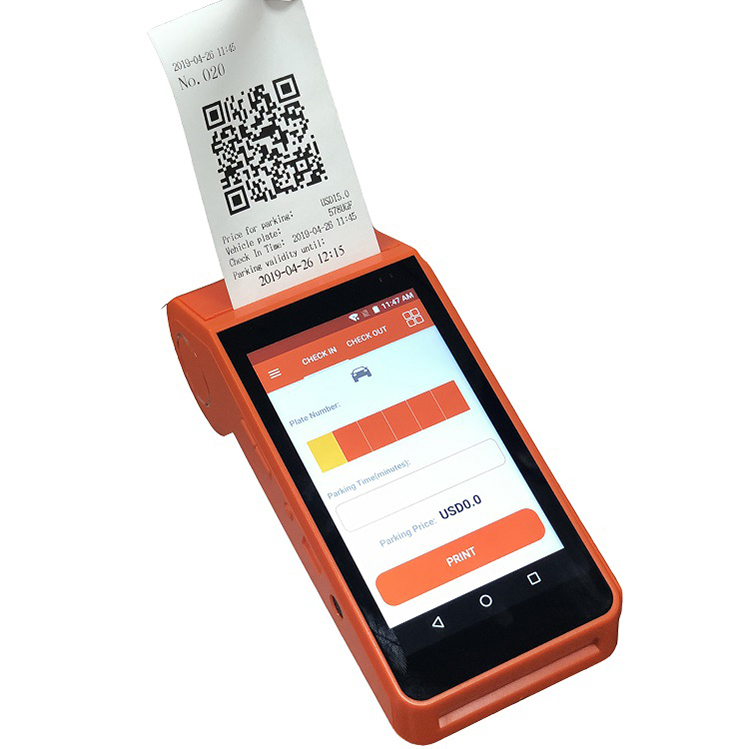 Top Sale Smart POS Android Handheld Terminal Thermal Receipt Printer For Car Parking