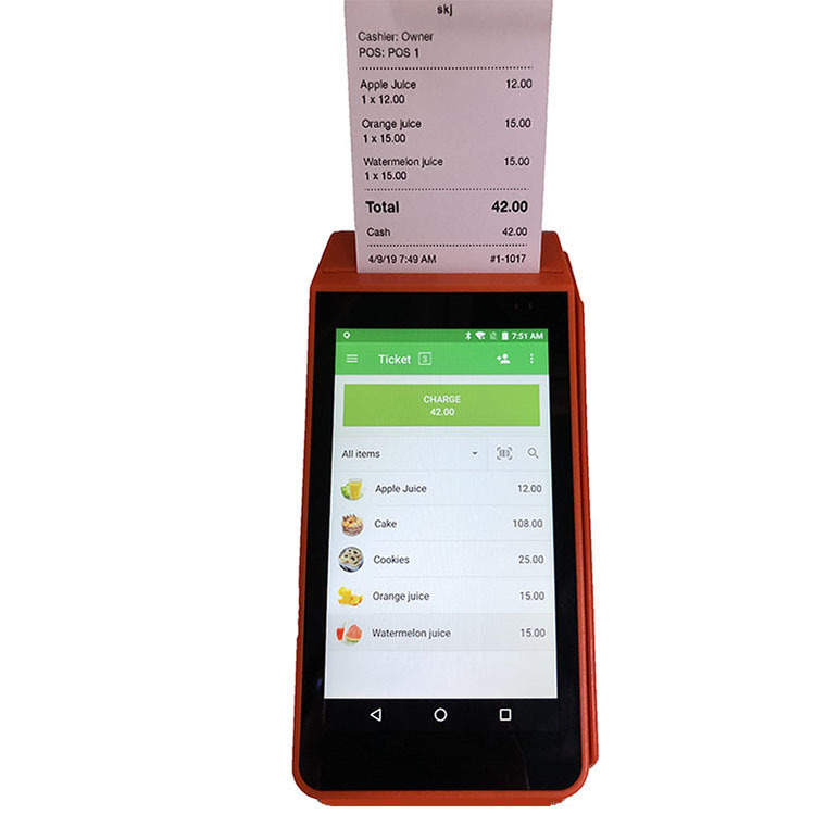 5'' Handheld Smart Mobile Android POS Terminal With Printer For Restaurant Print Online Remote Email Orders